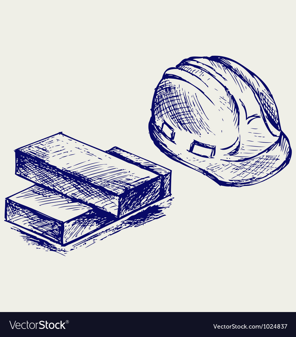 Hard hat and bricks vector