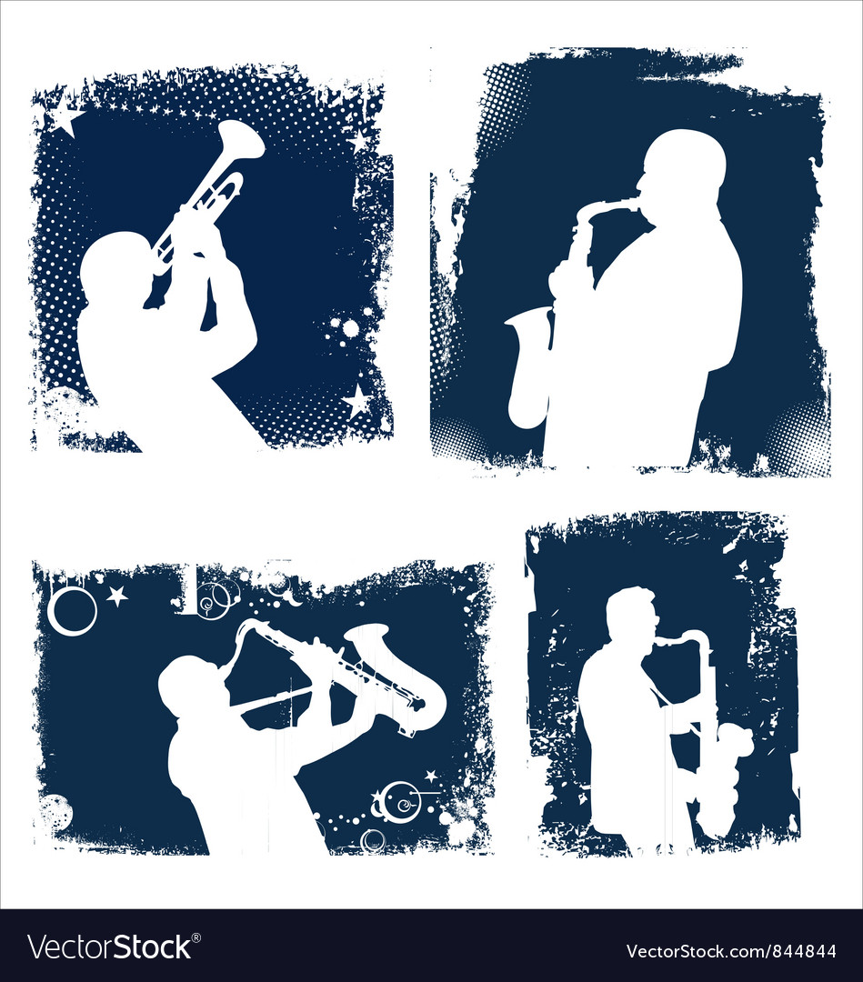Grunge jazz background set vector
