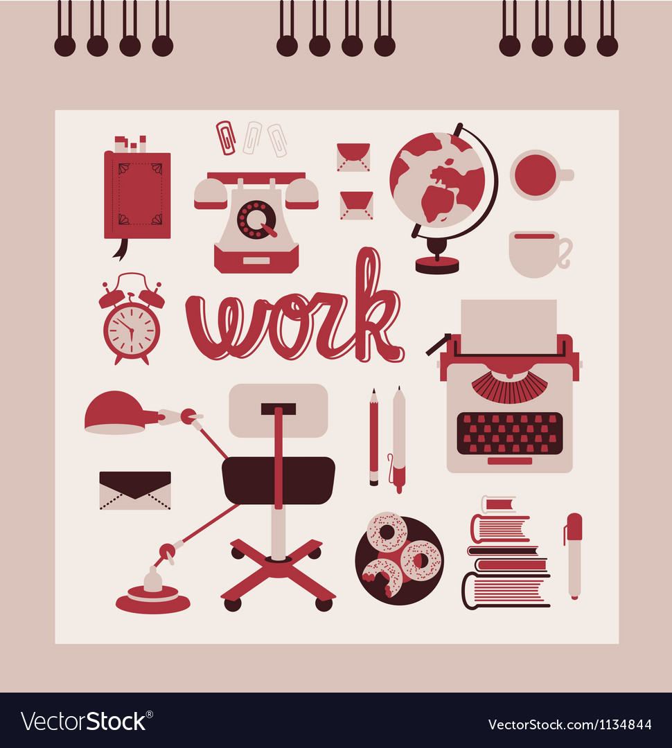 Retro office supplies vector