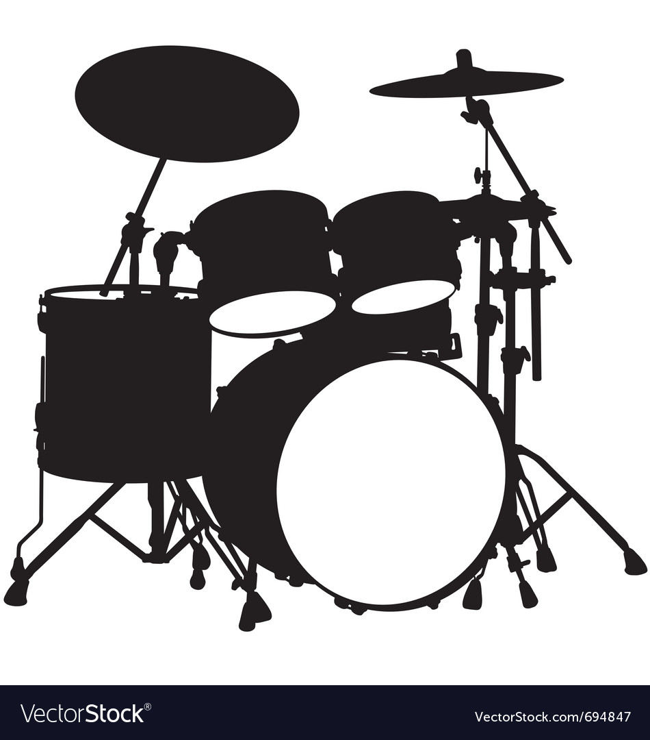 Drum kit silhouette vector by rheyes - Image #694847 - VectorStock White Drum Set Silhouette