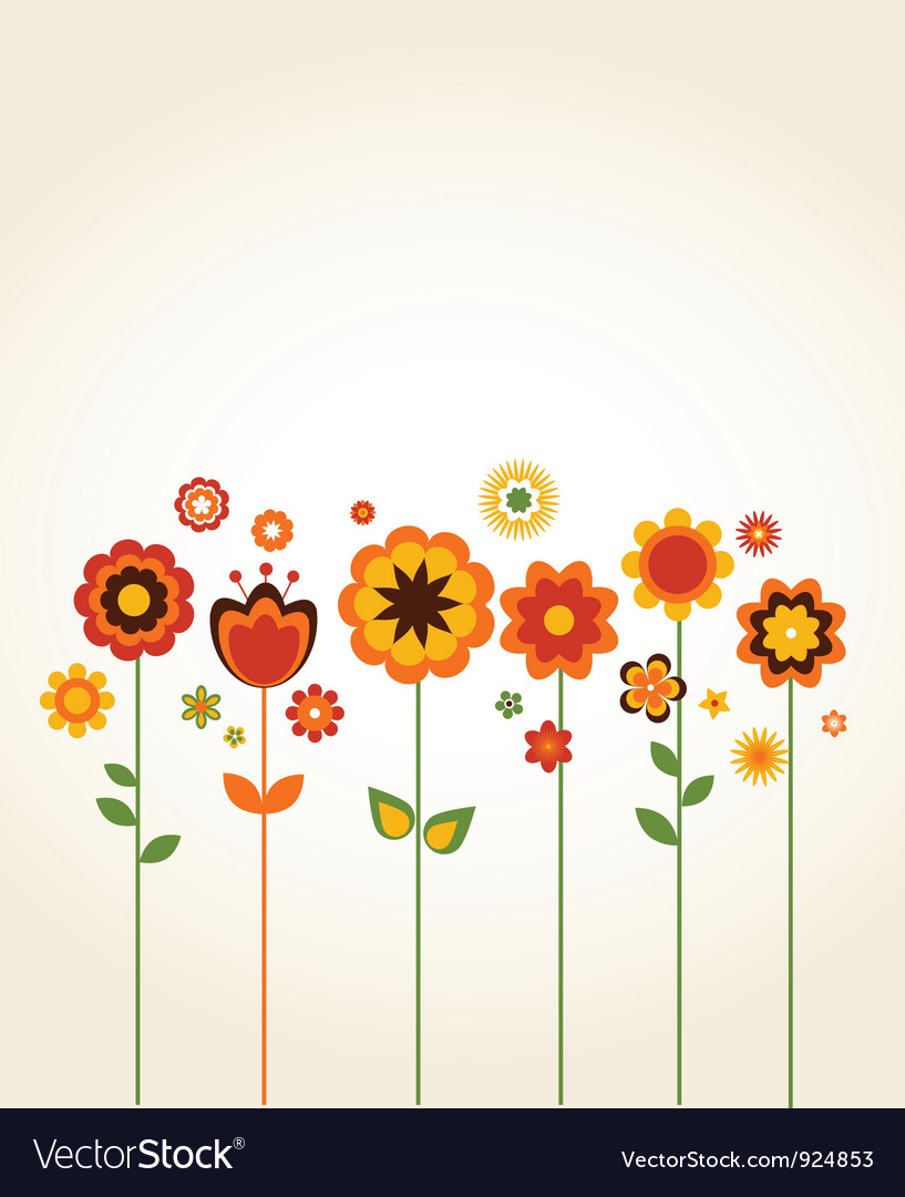 Greeting card with cute flowers vector