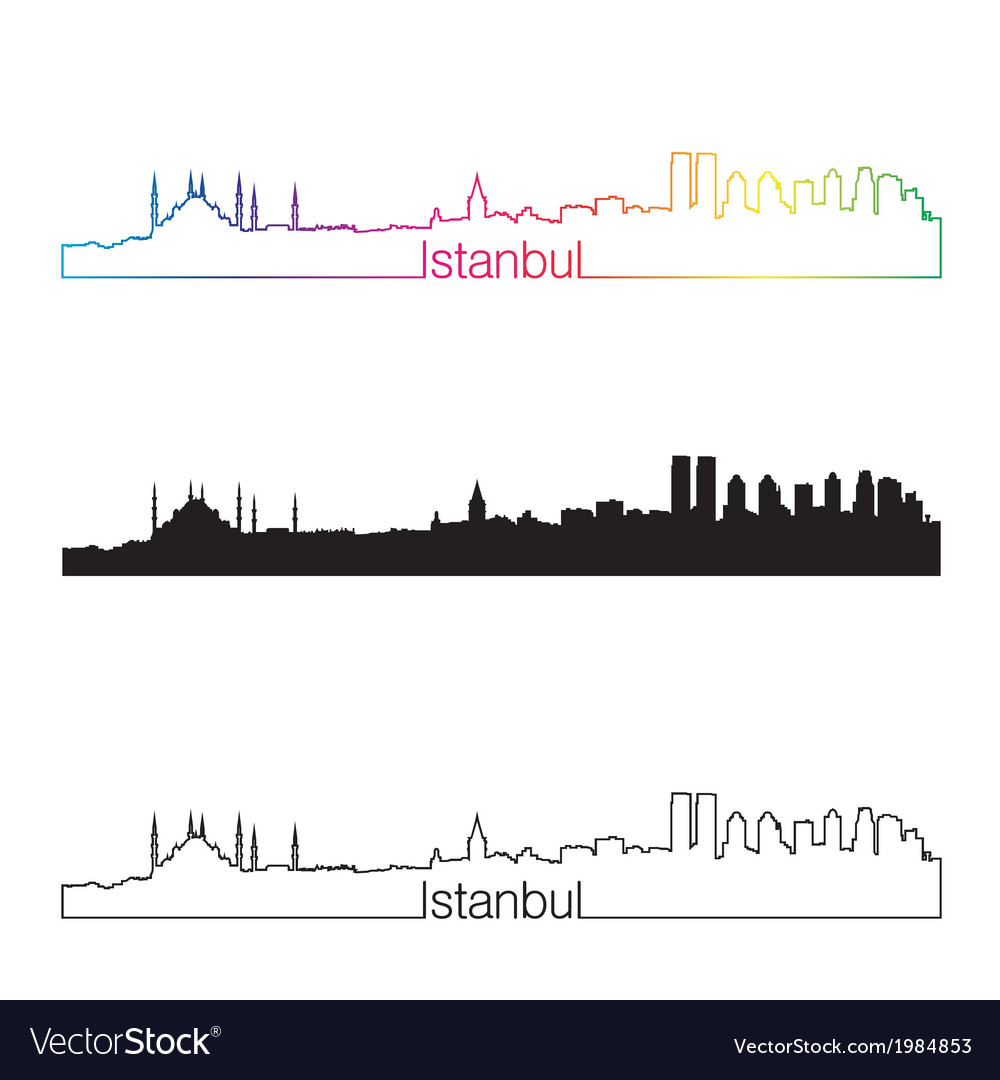 Istanbul skyline linear style with rainbow vector