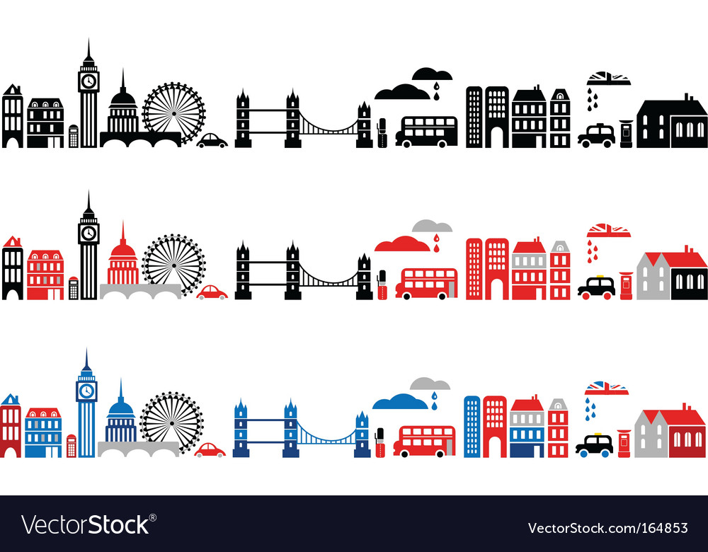 Silhouettes of european cities london vector