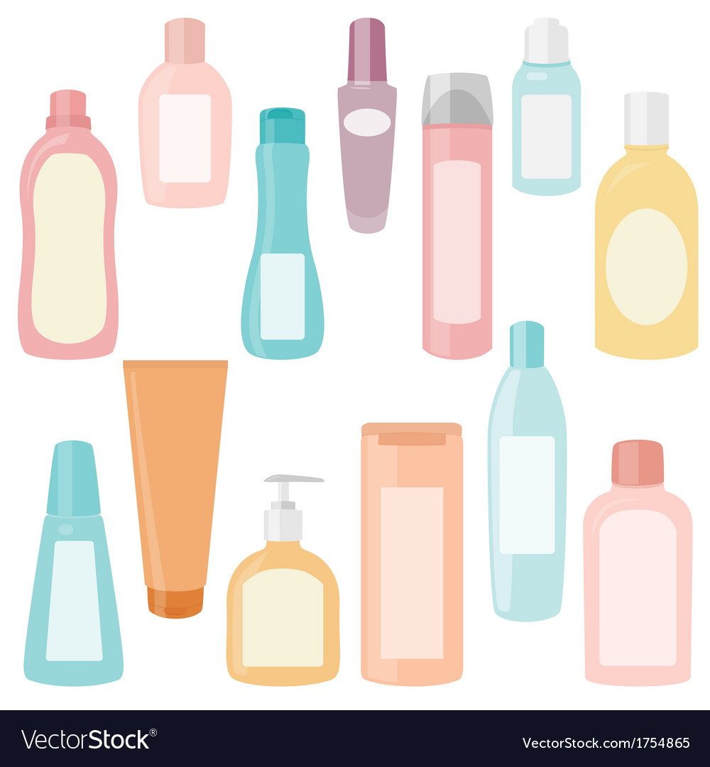 Set of cosmetics containers vector