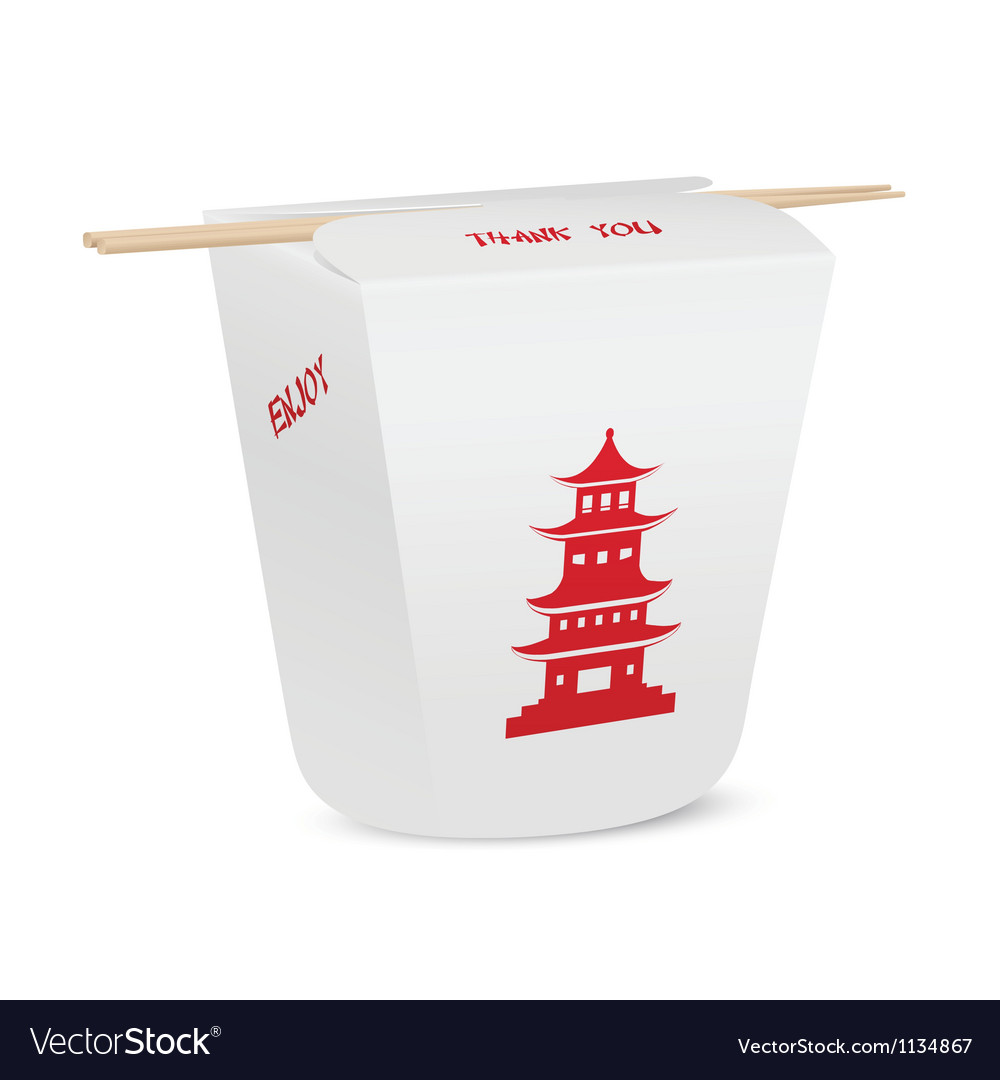 Chinese restaurant closed take out box with chopst vector
