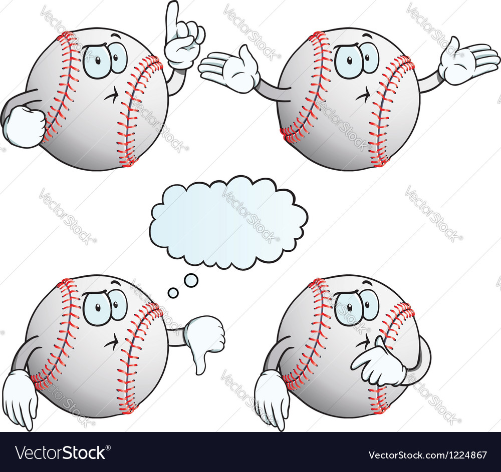 Thinking baseball set vector