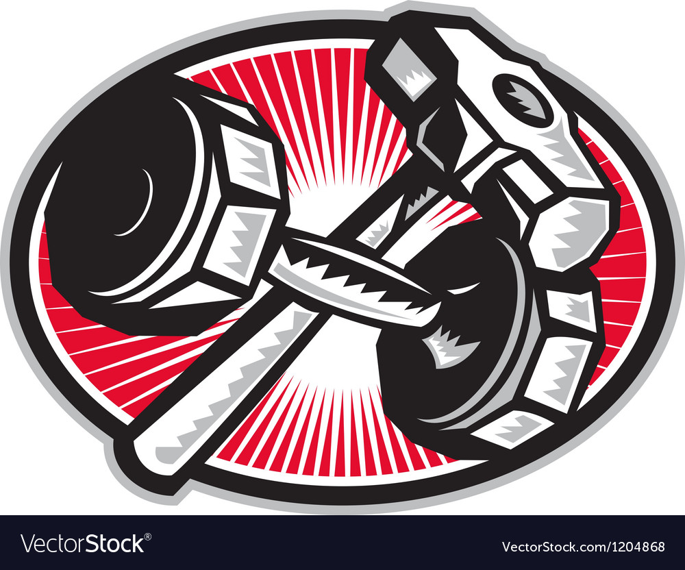 Dumbbell and sledgehammer retro vector