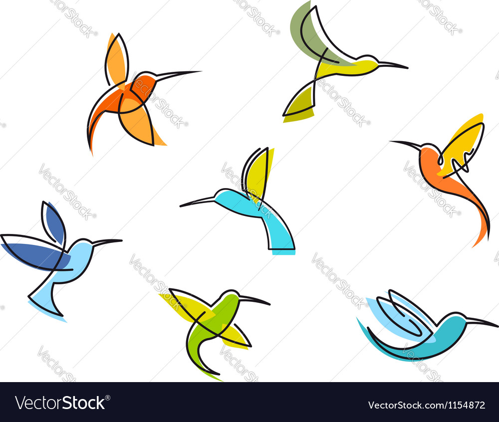Abstract colorful hummingbirds vector
