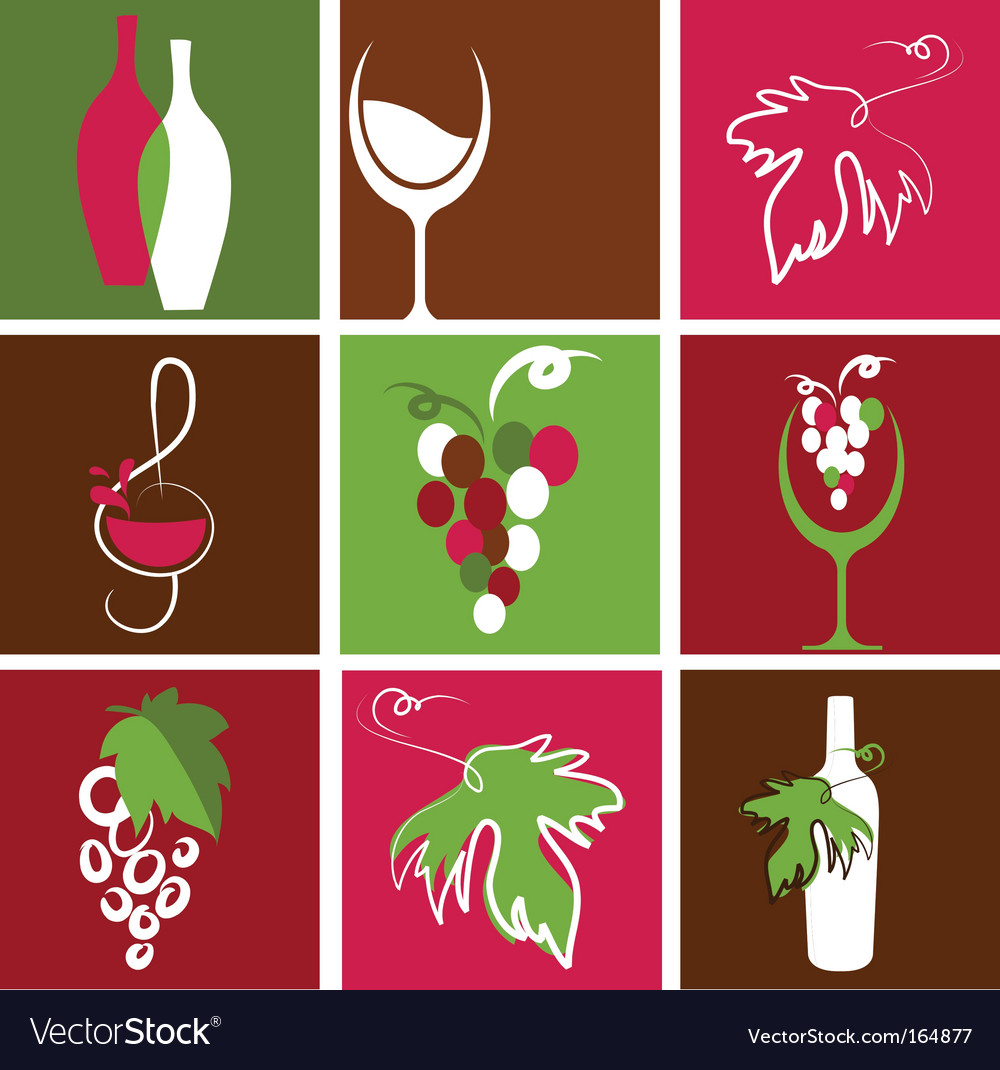 Wine bottle and glass icons vector