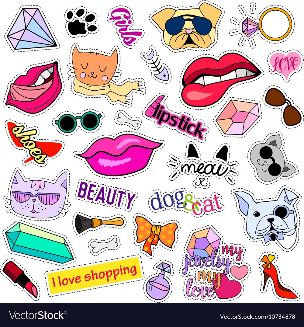 Fashion patch badges cats and dogs set stickers vector by ...