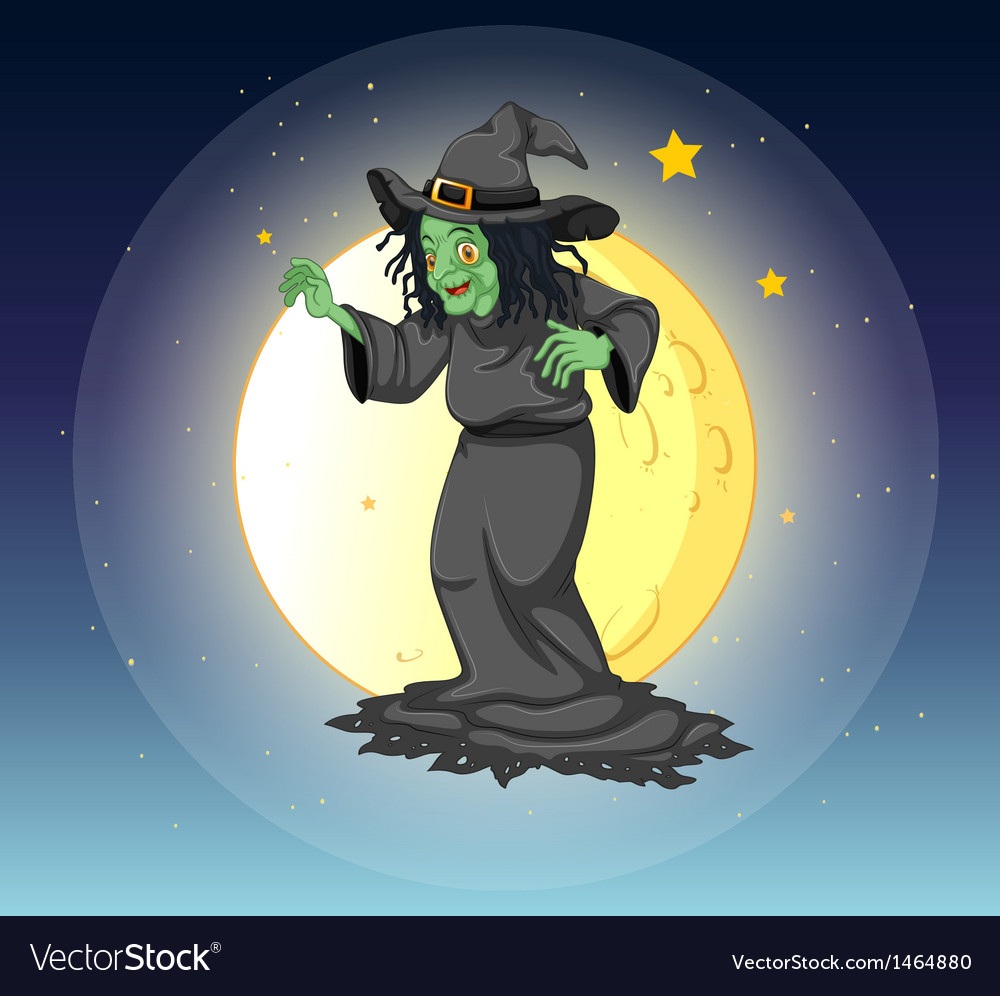 A witch at the fullmoon vector