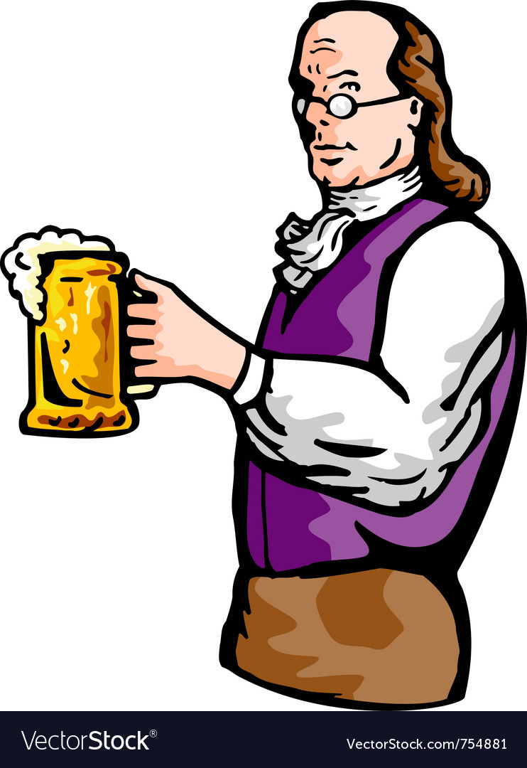 Benjamin franklin beer mug vector