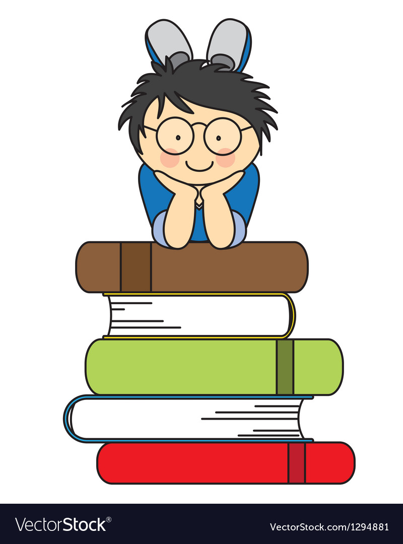 Boy with many books vector