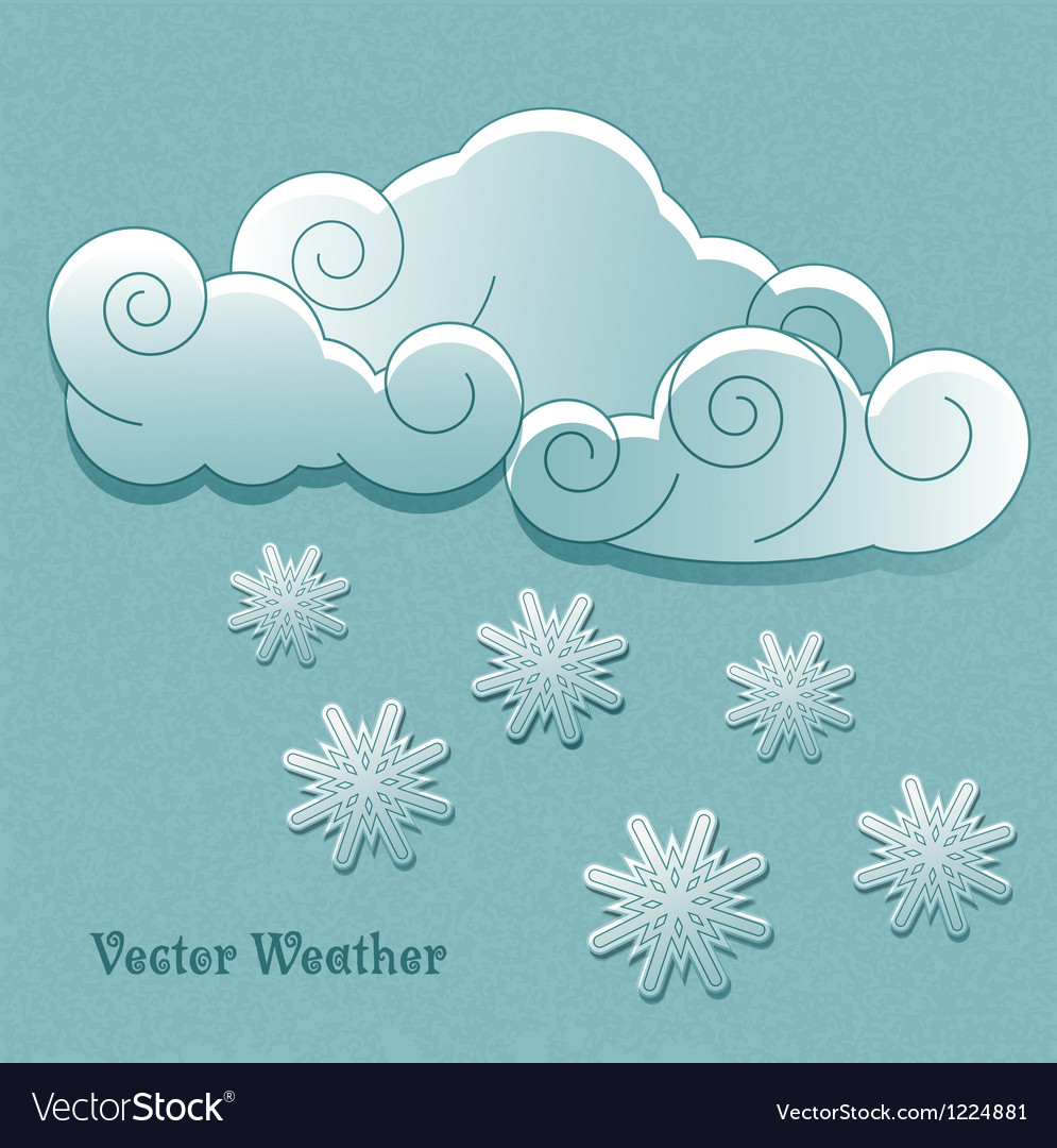 Clouds with snowflakes vector