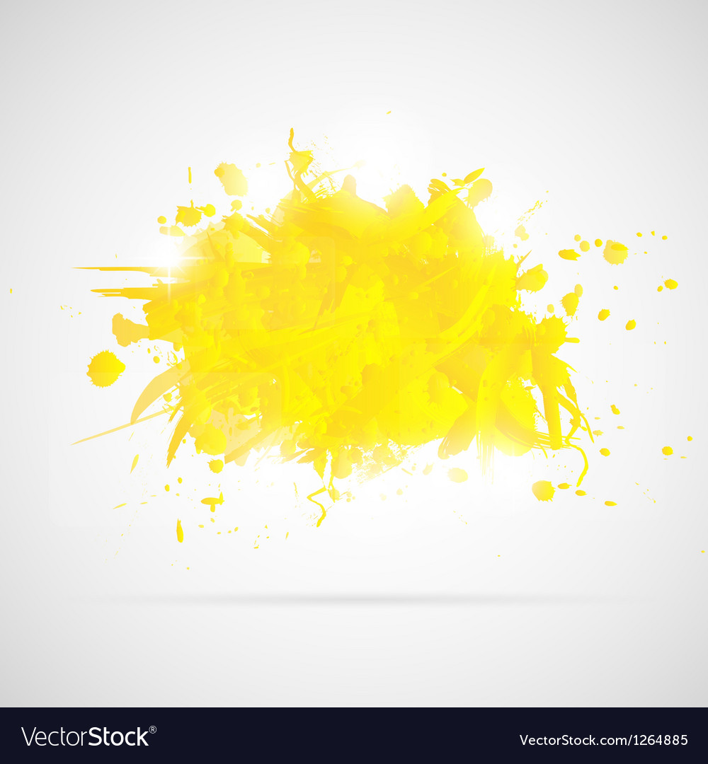 Abstract background with yellow paint splashes vector