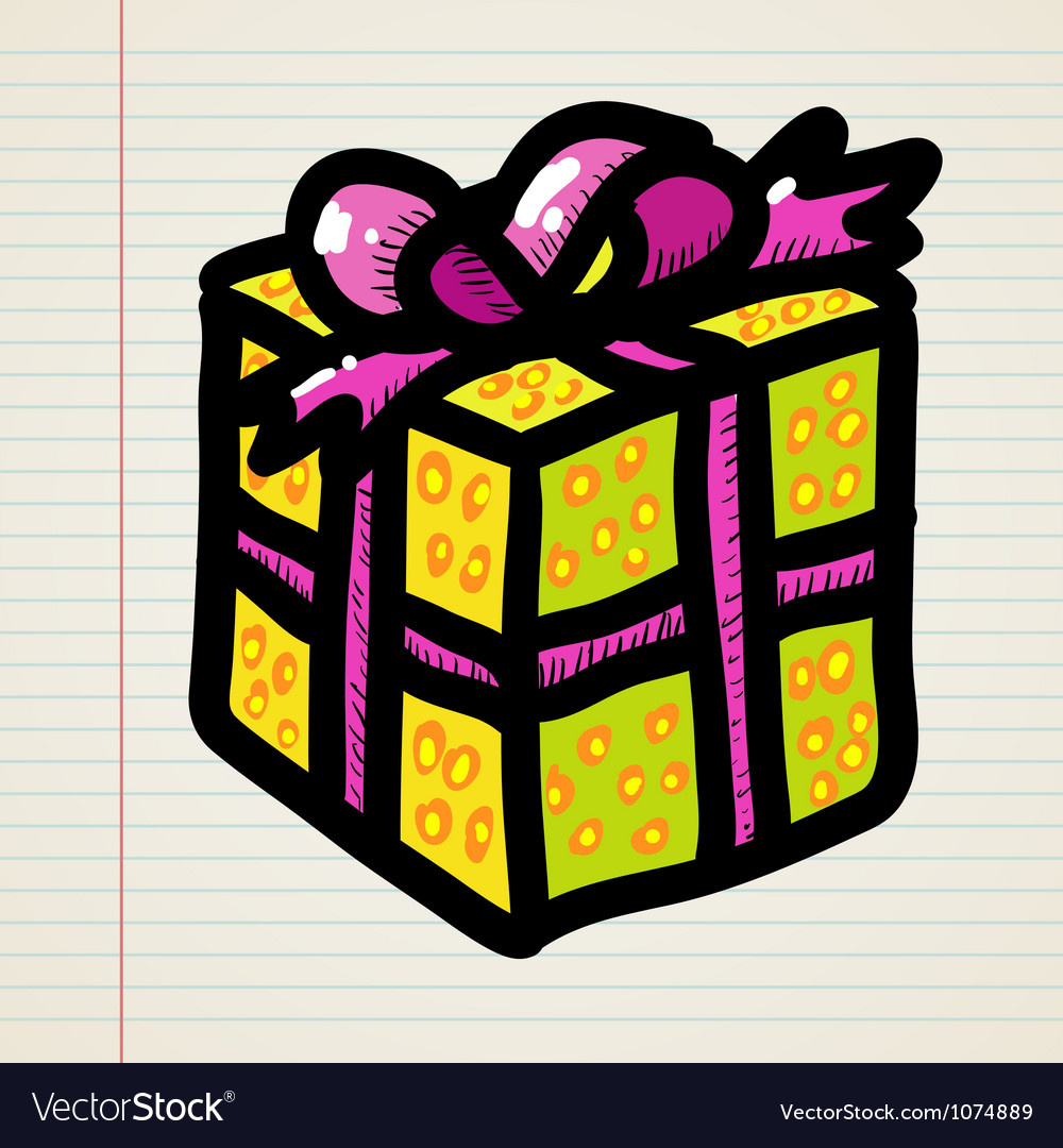 Doodle cartoon gift vector