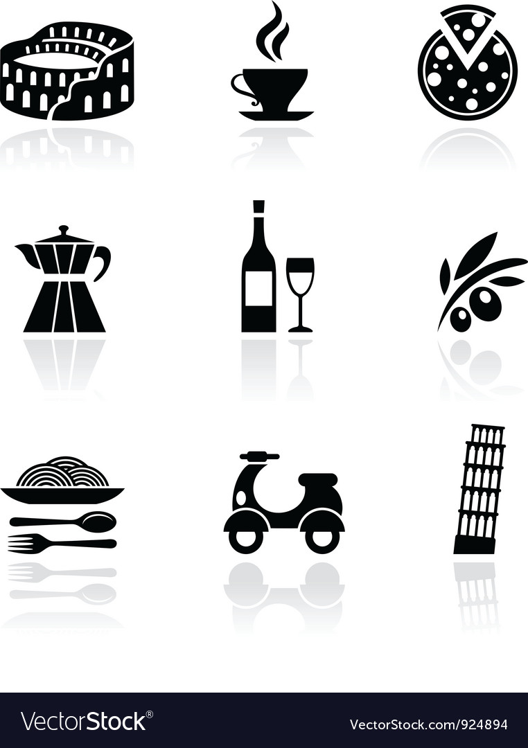 Italy icons  black vector