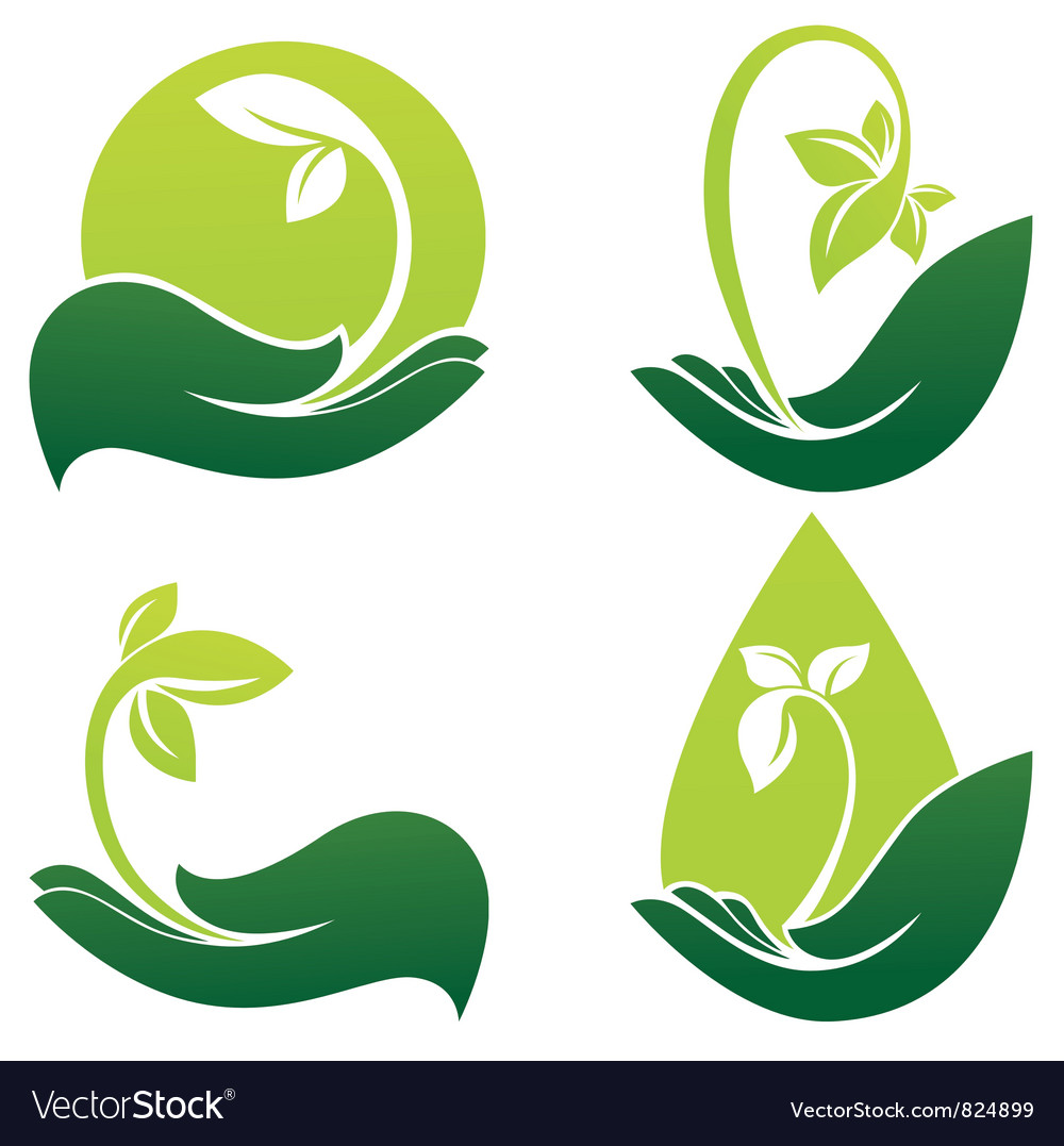 Green hands vector