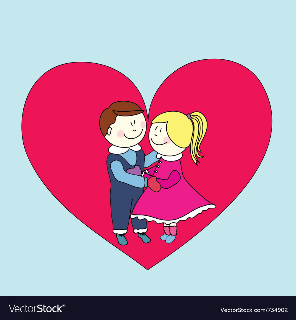Boy and girl happy valentines day vector