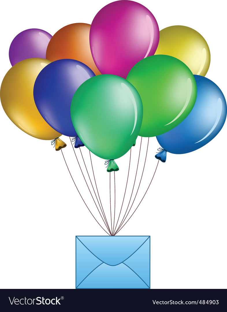 Balloons with mail vector