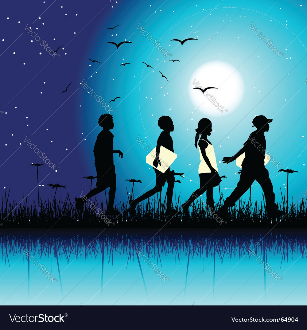 Children at night vector
