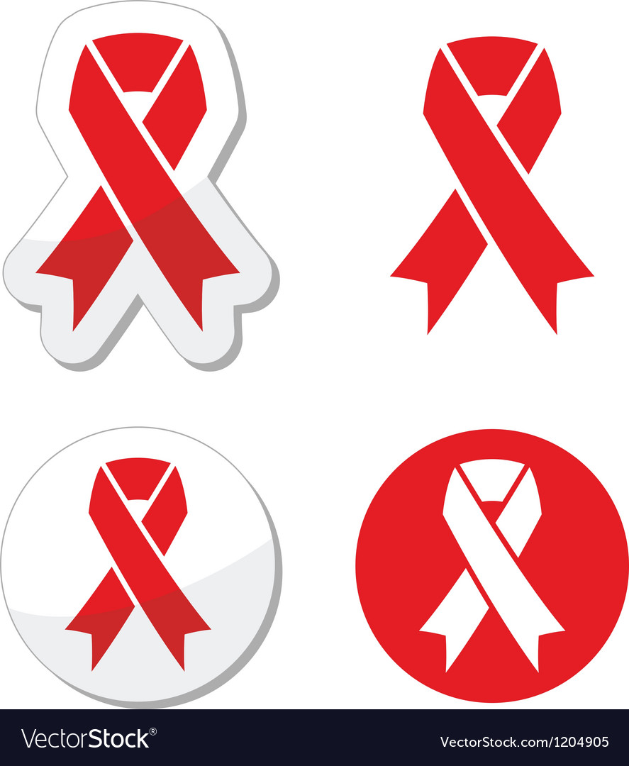 Red ribbon  aids hiv heart disease stroke vector