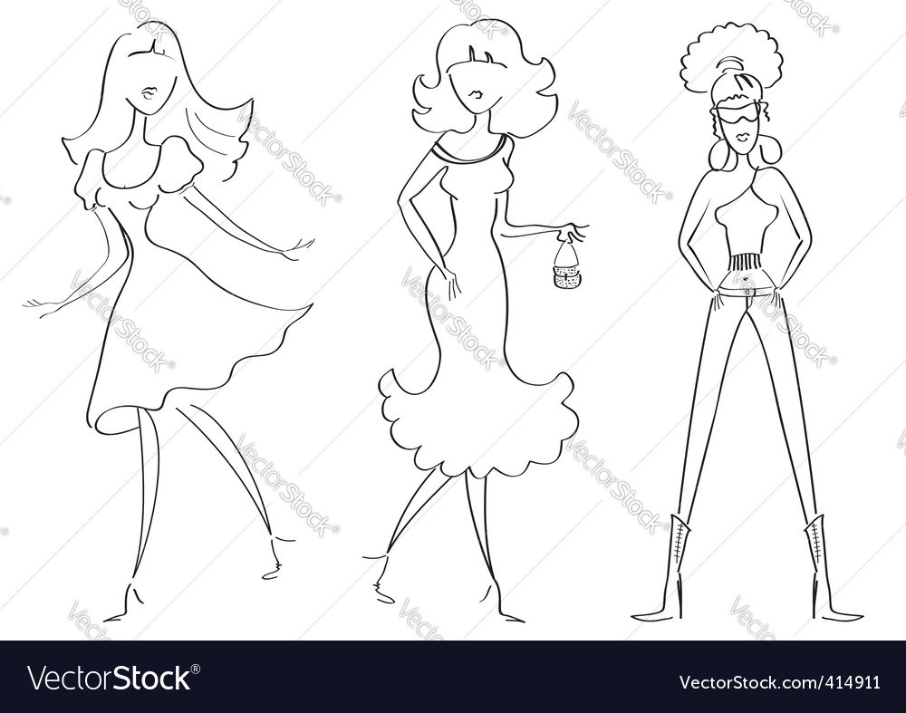 Fashion girls1 vector