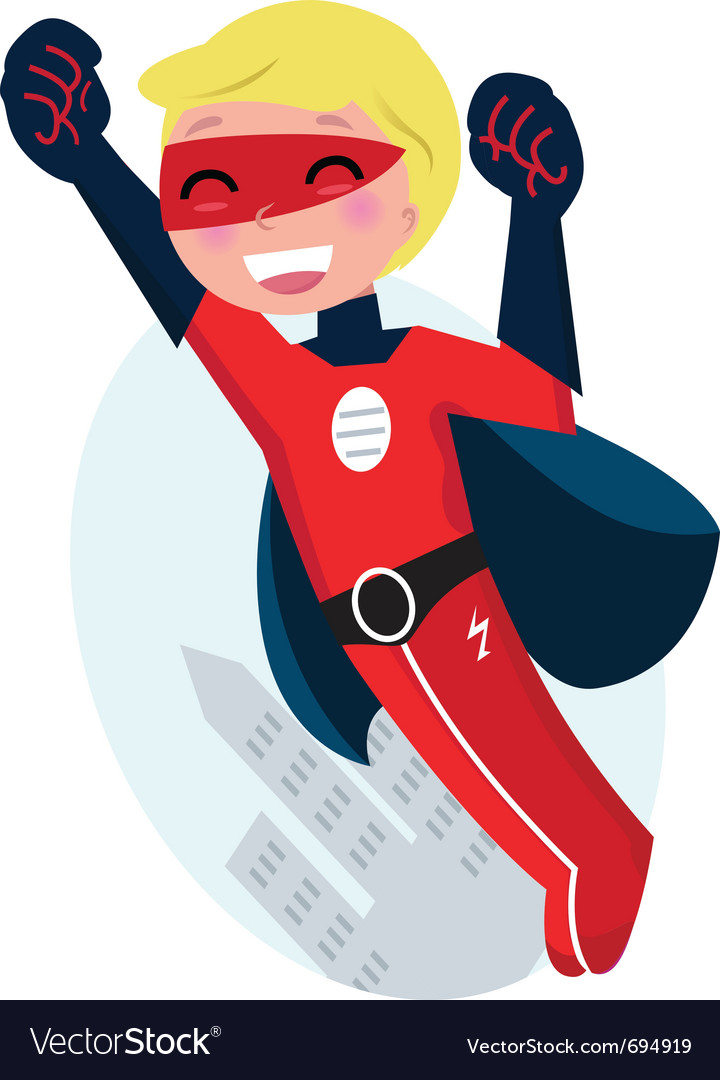 Flying superhero boy vector