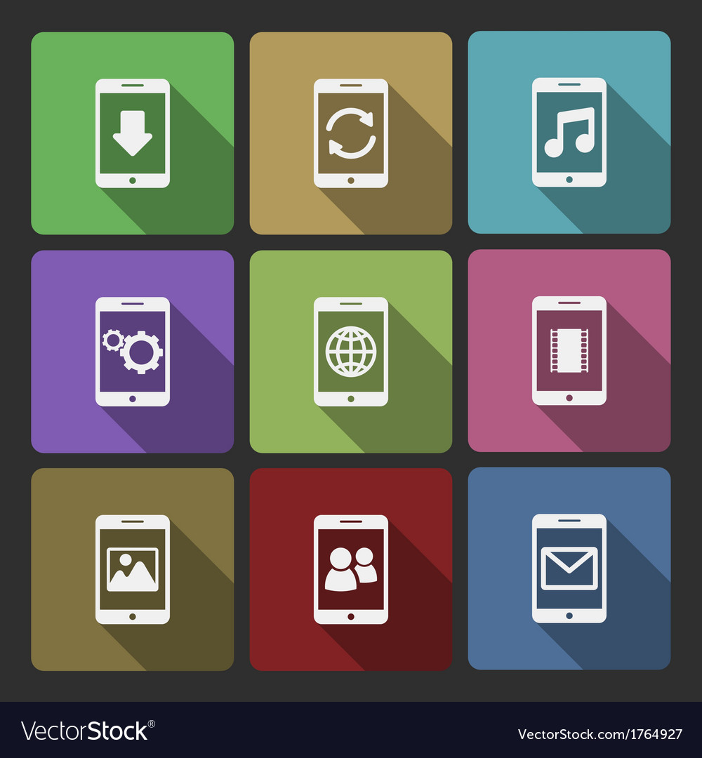 Mobile devices ui design set squared shadows vector