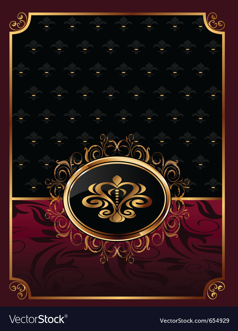 Golden ornate frame with emblem  vector