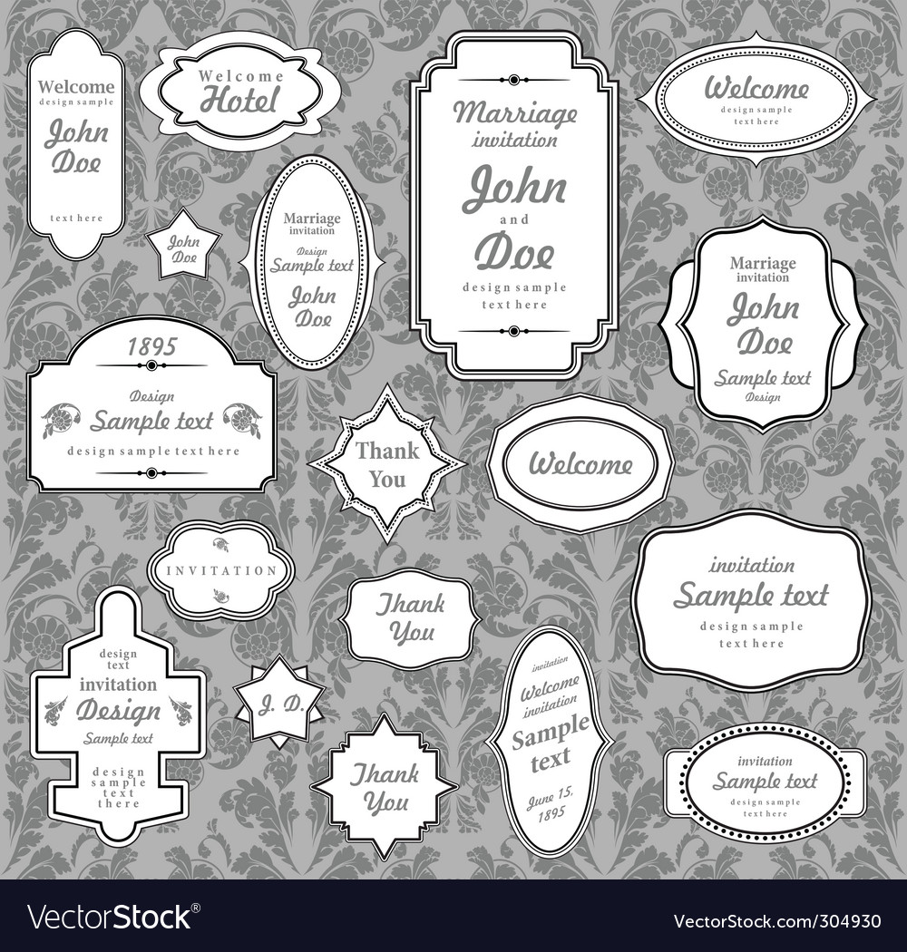 Set of ornate frames vector