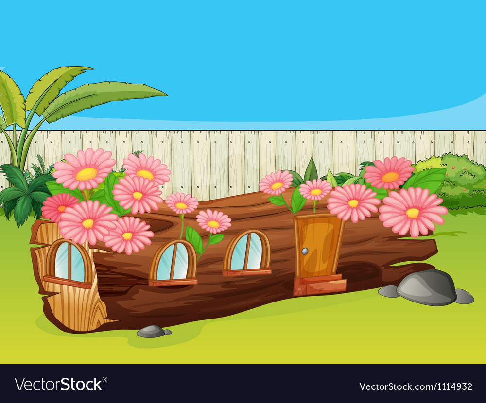 Flowering wood house vector