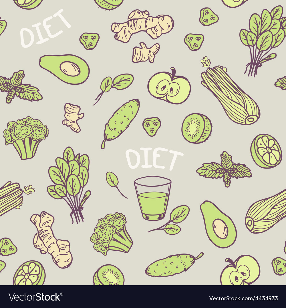 Hand drawn green vegetables seamless pattern in vector
