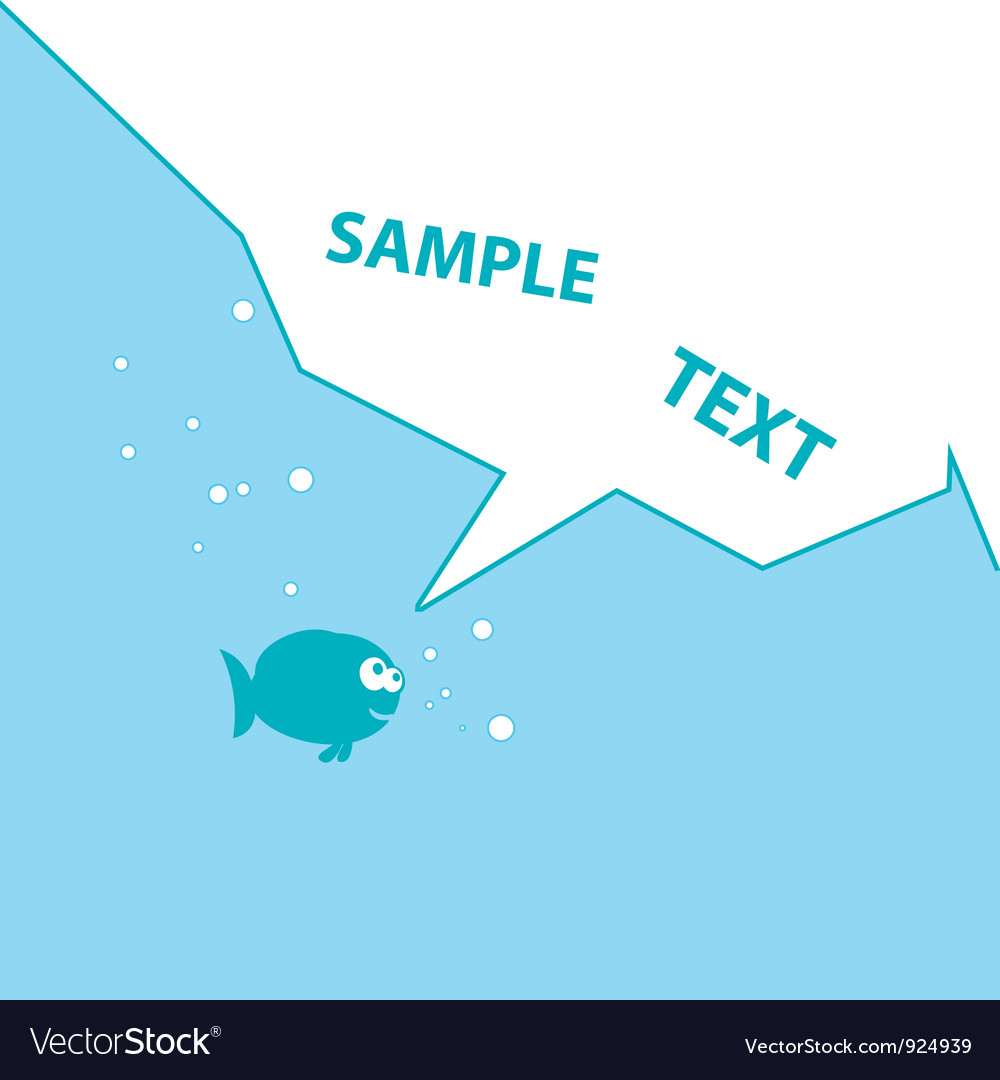 Blue cartoon fish vector
