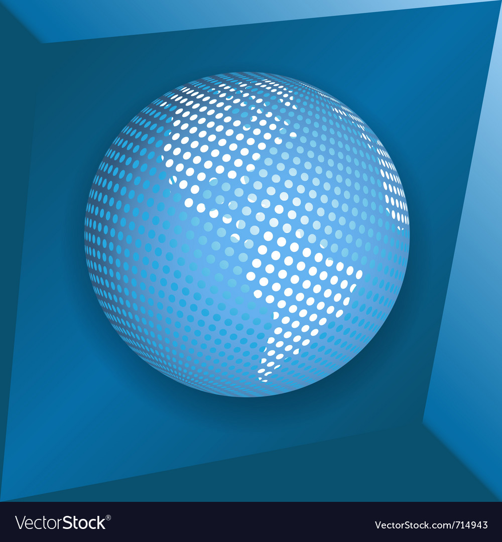 Globe on blue background vector