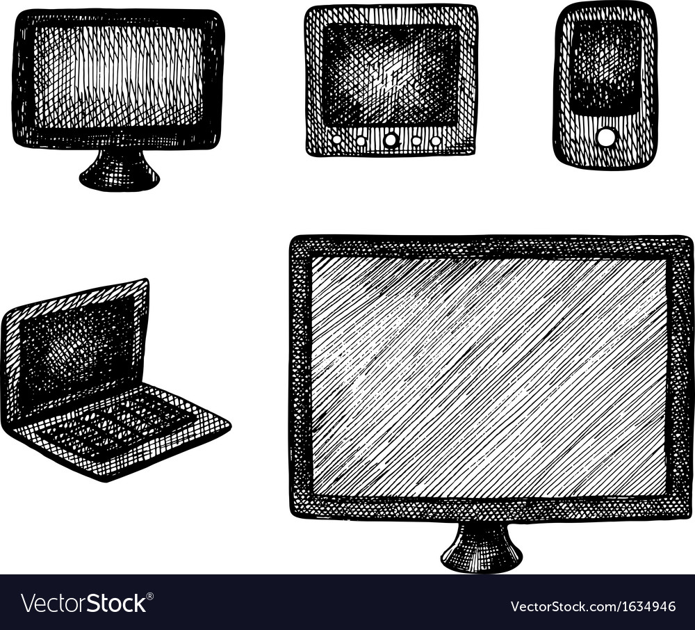 Hand drawn computer technics vector