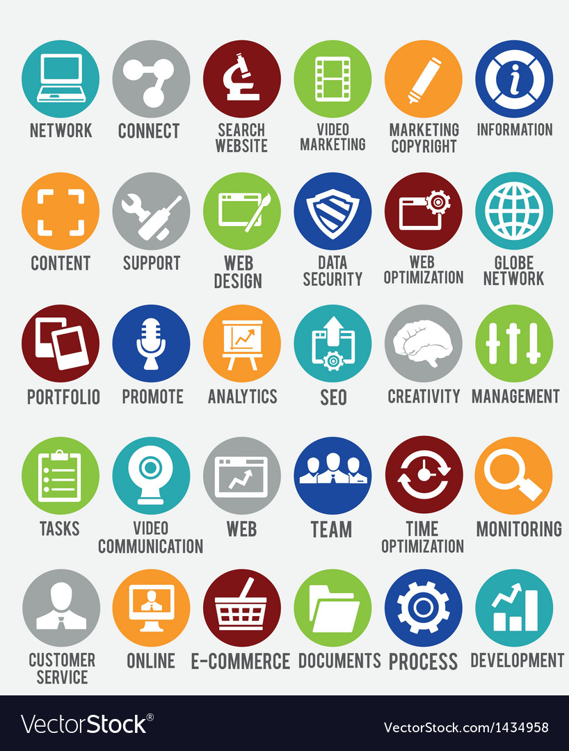 Set of internet services icons vector