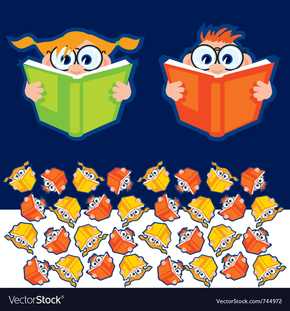 Reading books vector