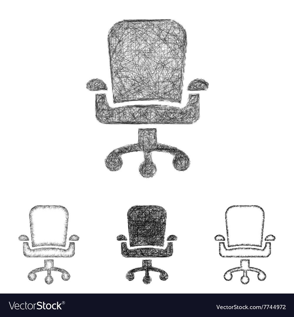 Swivel chair icon set sketch line art