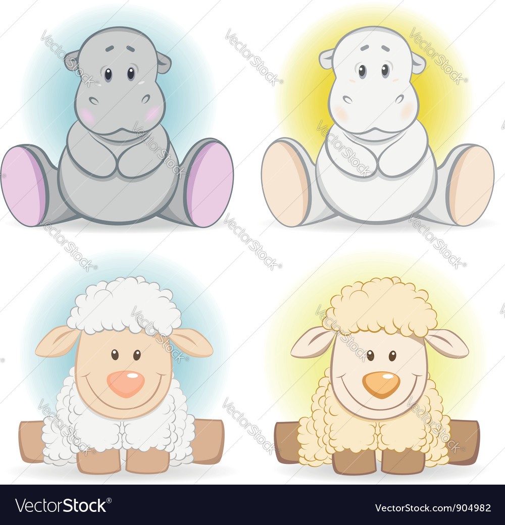 Cartoon hippo and sheep baby toy vector