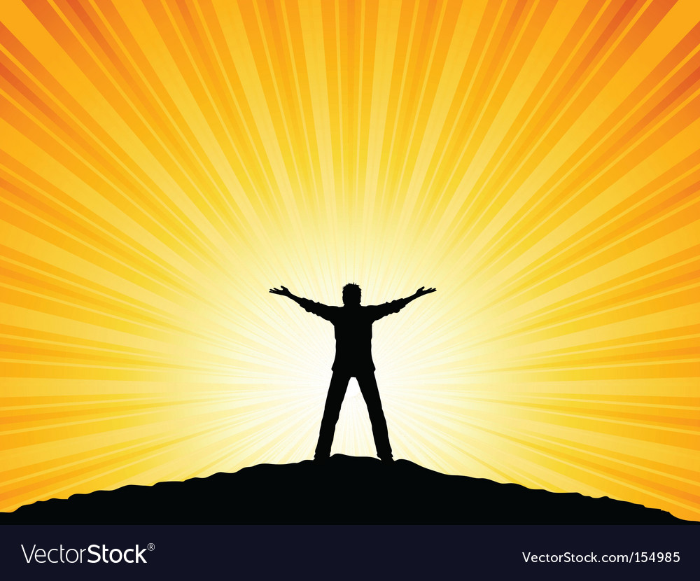 Silhouette man with arms raised vector