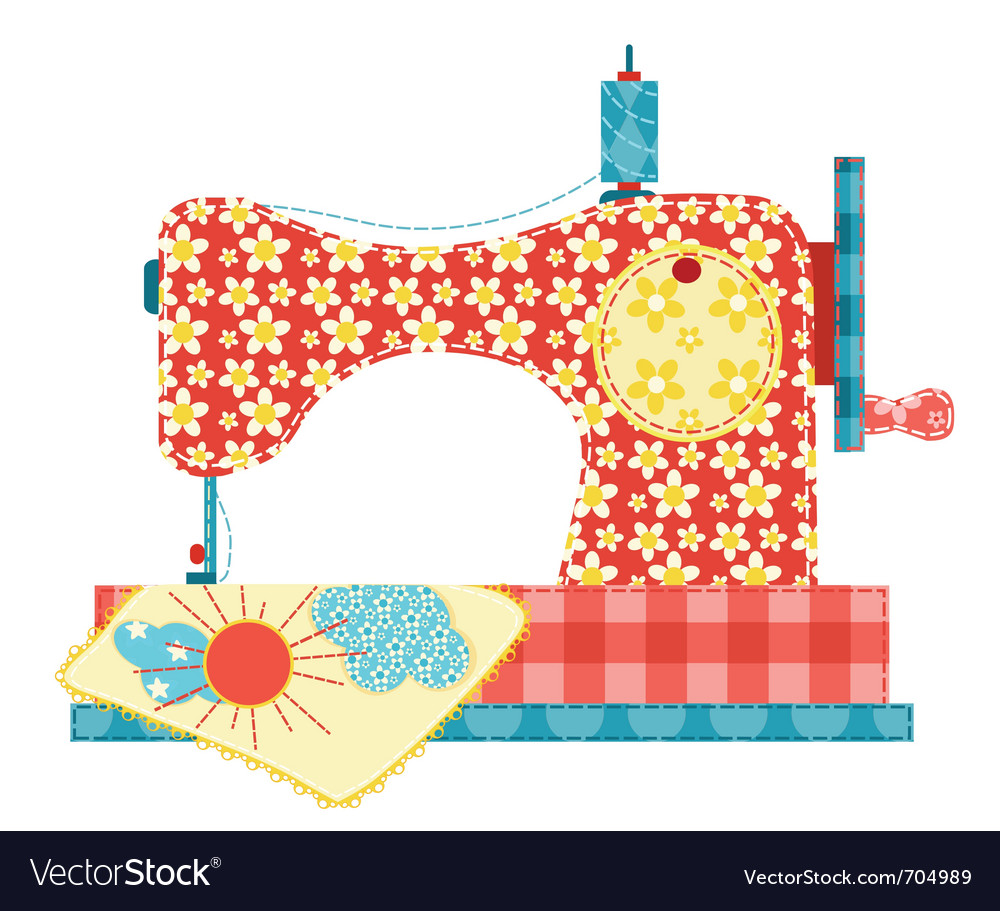Sewing machine on white vector