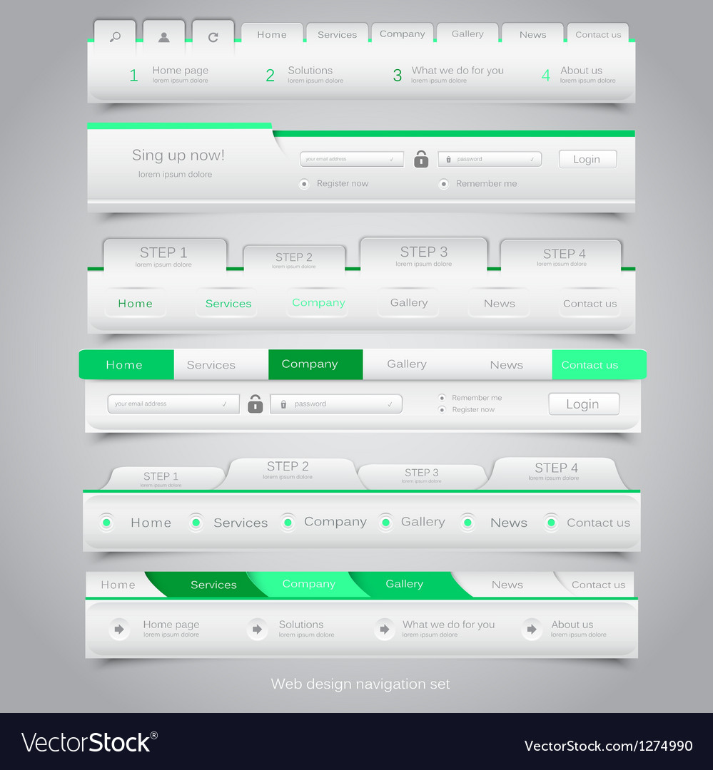 Web site navigation menu pack 25 vector