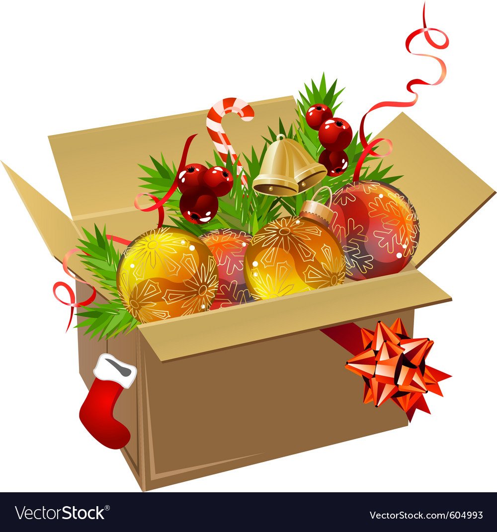 Paper box full of christmas balls vector