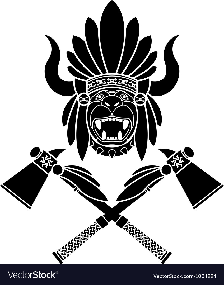 American indian headdress and tomahawks vector