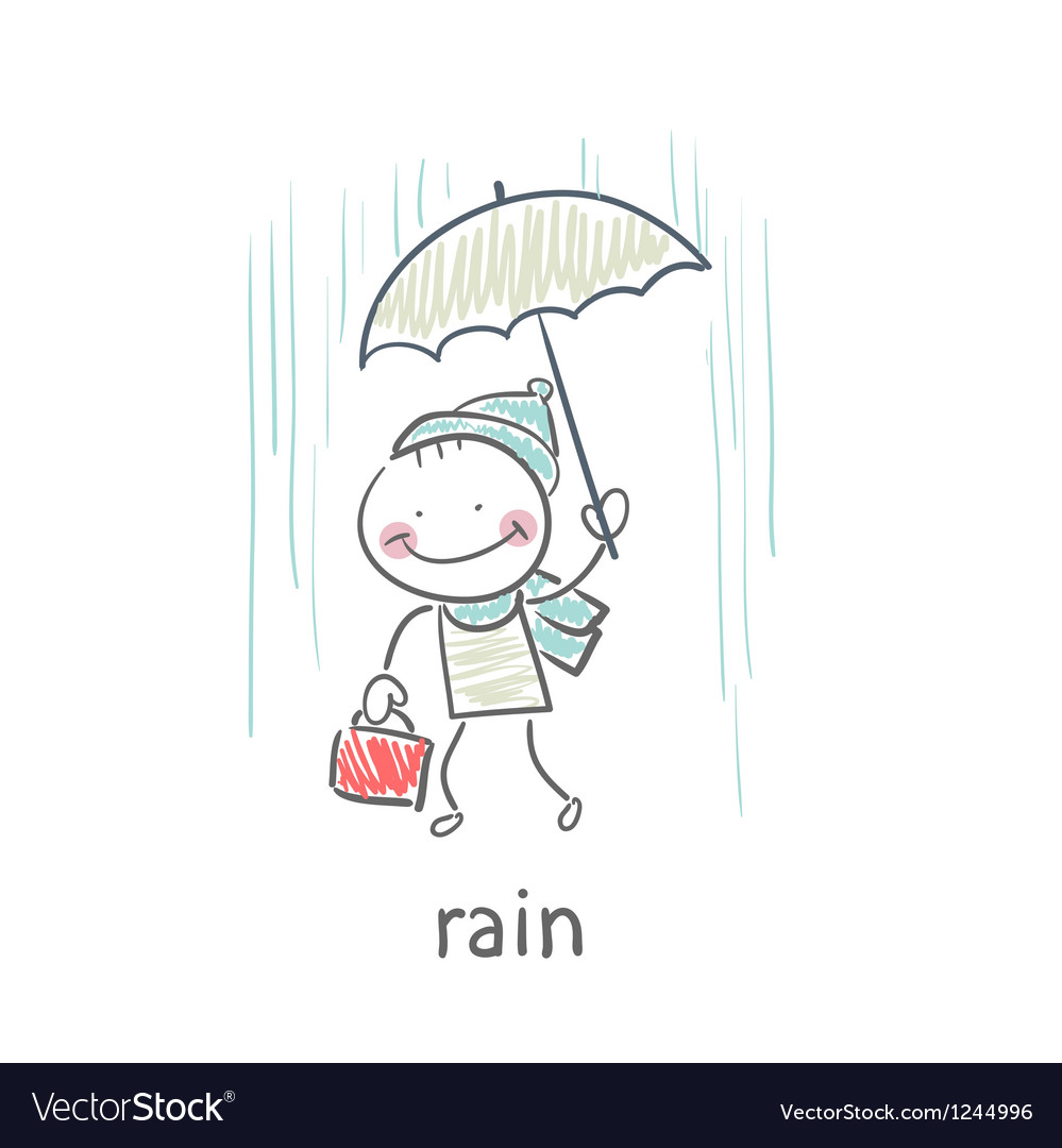 Man in rain vector