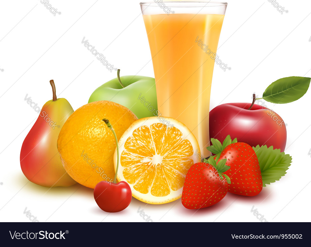 Fresh fruit and juice vector