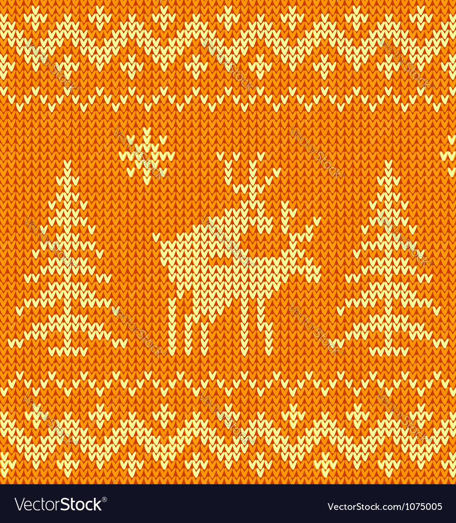 Joking orange knitted ornament with deers vector