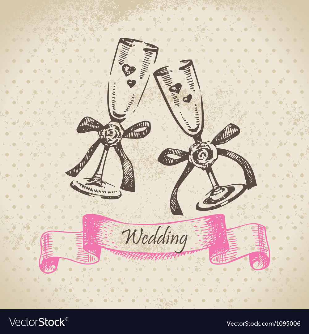 Wedding wineglasses hand drawn vector