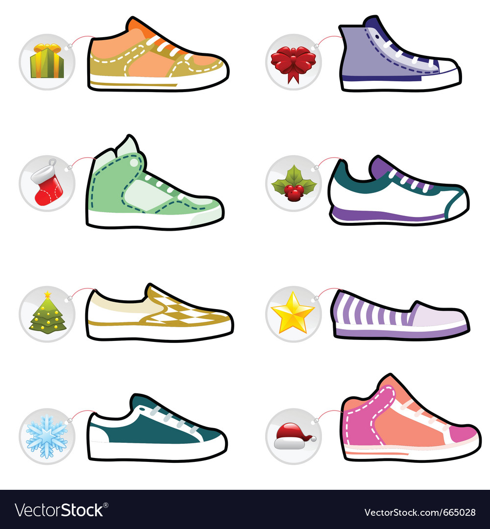 Shoes with christmas labels vector